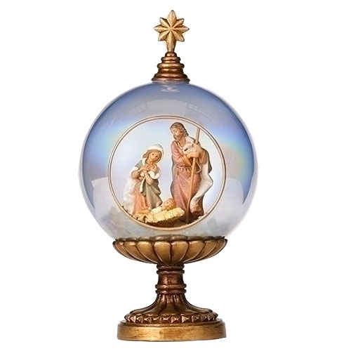 Holy Family With Angel Hair Glass Ornament: Fontanini Holy Family Glass Dome And Gold Stand Ornament