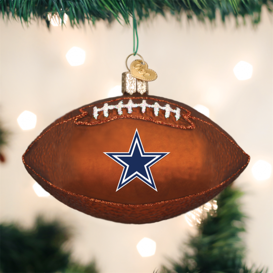 old world christmas dallas cowboys nfl football glass ornament