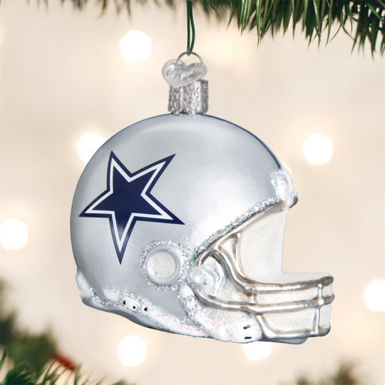 old world christmas nfl dallas cowboy football helmet glass ornament