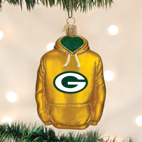 old world christmas green bay packers nfl football hoodie glass ornament - Green Bay Packers Christmas Ornaments