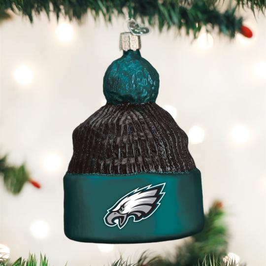 Old World Christmas® Philadelphia Eagles NFL Football Beanie Glass Ornament b0e16a989080